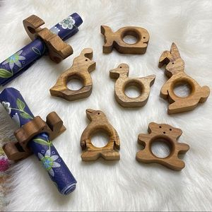 Wooden Animals Napkin Rings Handmade Farm House